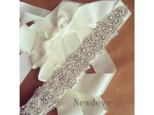 Ivory New Color Crystals and Pearls Sash