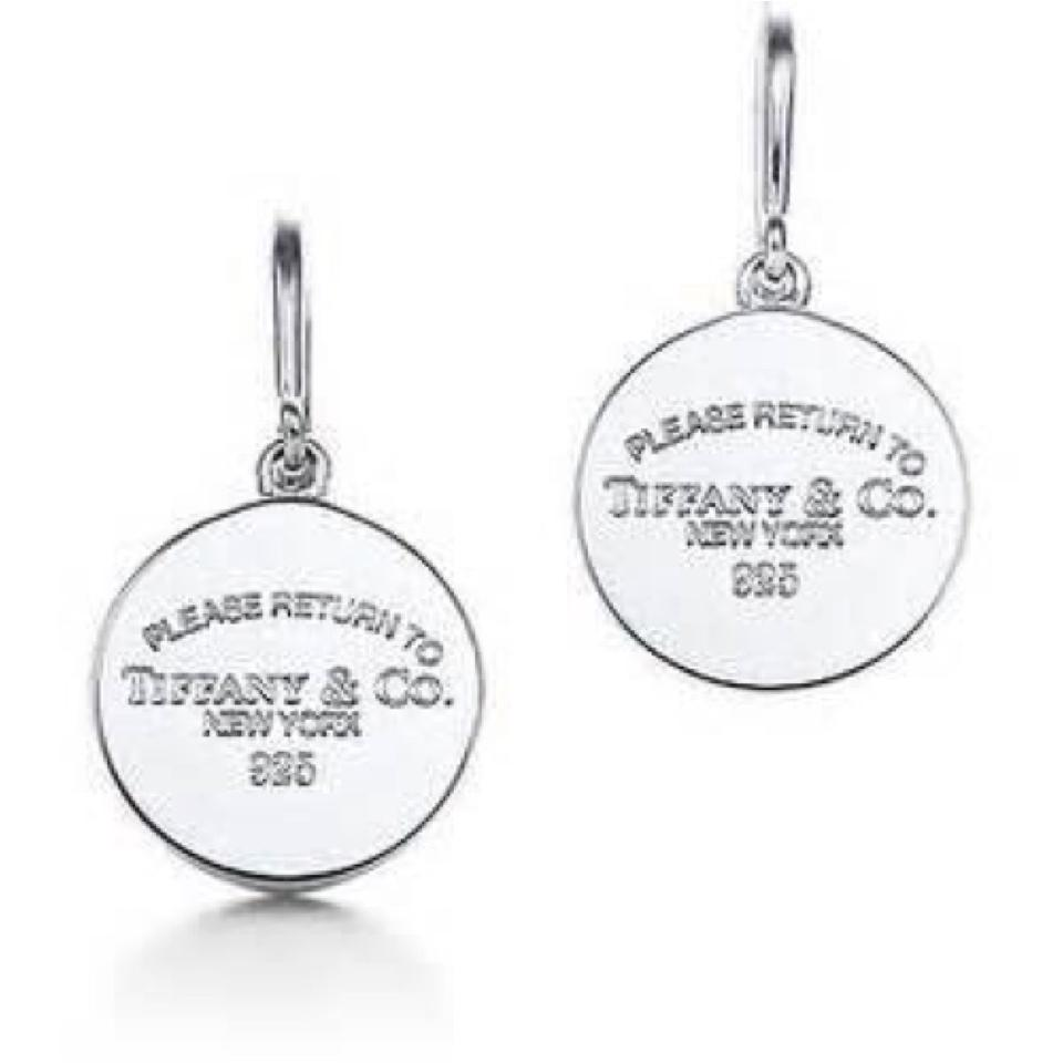 b7efc1f11d85d Tiffany & Co. Sterling Silver Round Tag Drop Earrings 50% off retail