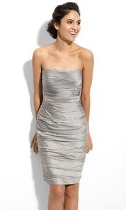 Monique Lhuillier Silver Chiffon Strapless Ruched Cationic (Gunmetal) Formal Bridesmaid/Mob Dress Size 10 (M)