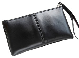 Leather Pu Leather Wristlet in Black