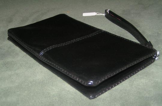 Other Leather Fold Zippered Wristlet in Black