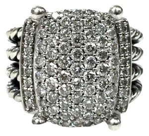 David Yurman David Yurman Wheaton Sterling Silver 1.12ct Diamond Ring Band 12X16mm $2750 size 7
