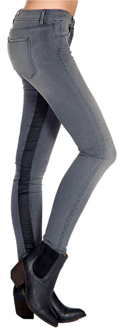 Item - Grey and Black Medium Wash Channel Seam Coated Inseam Skinny Jeans Size 27 (4, S)