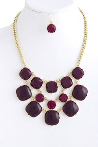 Other Purple Faceted and Cabochon Acrylic Bib Necklace Set