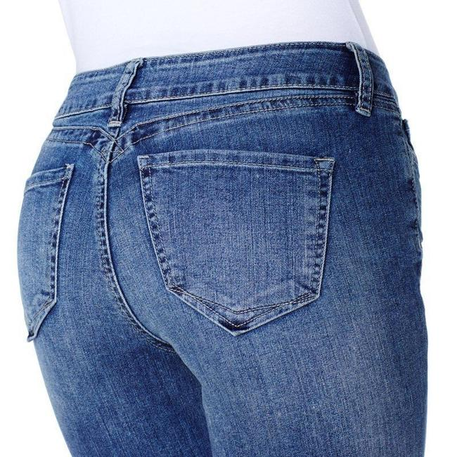 Yummie Women Ladies Misses Slimming Skinny Vintage Mid Rise Heather Thomson Designer Fashion Style Modern Cute Classic Elegant Straight Leg Jeans-Medium Wash
