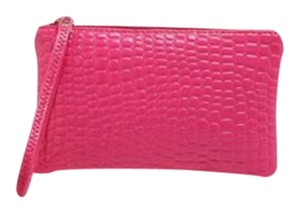 Other Pink Pu Zippered Wallet Handbag Wristlet in Hot Pink
