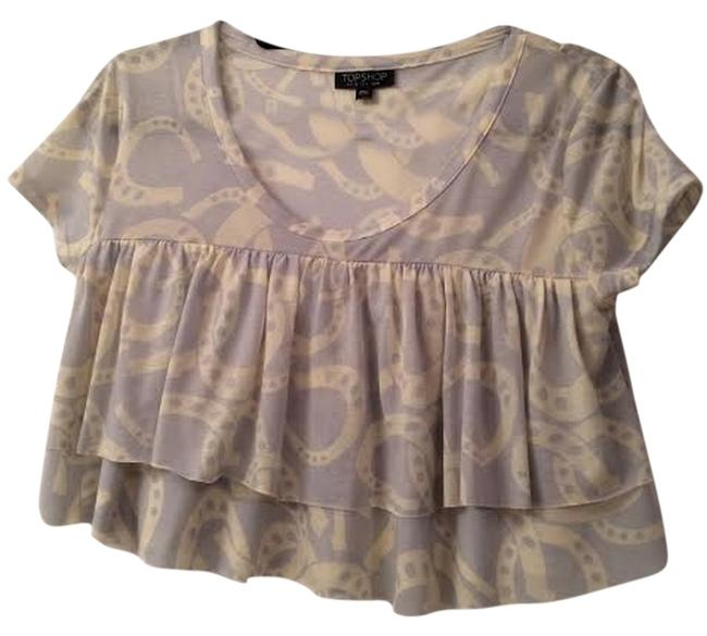 Topshop Crop Ruffle Top Pale Blue