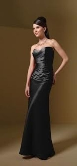 Alfred Angelo Black Satin 7041 Formal Bridesmaid/Mob Dress Size 2 (XS)