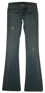 True Religion 5 Pocket Style Zip Fly Boot Cut Jeans-Distressed