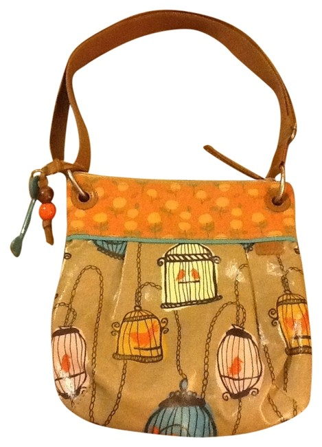 Item - Key -per Bird Cage Collection Multi Color Tan/Orange Fabric and Vinyl Messenger Bag