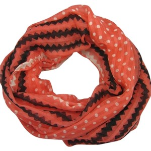 Polka Dot and Chevron Zig Zag Coral Infinity Scarf