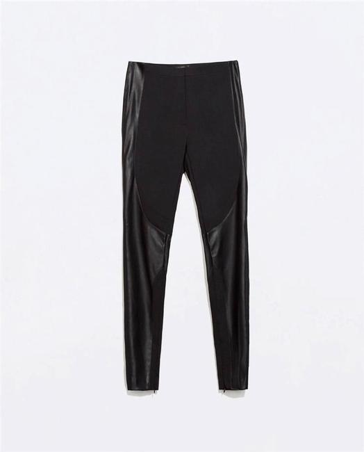 Zara Trousers Leggings Slim Stretch Leather Faux Leather Biker Motorcycle Moto Xs New New 0 All Alexander Wang Theory Skinny Pants Black