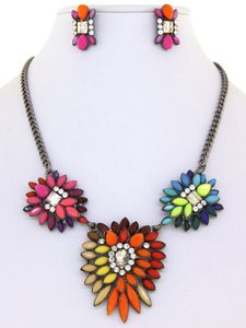 Other Multi-Color Rainbow Color Crystal Necklace Set