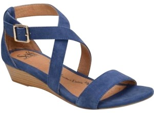 Söfft Tods Peep Toe Pumps Denim Blue Sandals