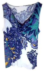 Tahari Sleeveless Shirt Floral Top Multi