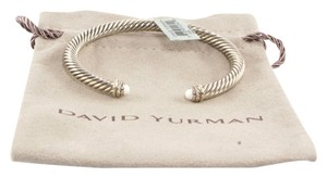 David Yurman DAVID YURMAN Sterling Silver 5mm Diamond White Agate Cable Cuff Bracelet .925