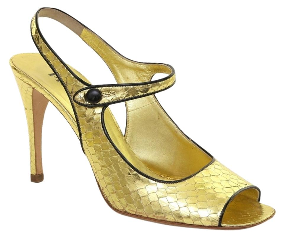 Prada Gold Metallic Snakeskin Leather Open 38.5 Toe Slingback Dress Heel 38.5 Open Sandals 8b4a26