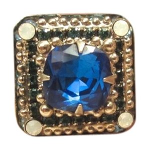 Sorrelli Sorrelli Blue & Opaline Swarovski Crystal Adjustable Ring Cocktail Silver Tone