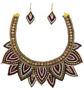 Red Mix and Gold Seed Beaded Bib Necklace Set