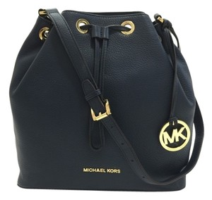 Michael Kors Leather Gold Tone Hardware Mk Hanging Gold Charm Logo Drawstring Genuine Leather Shoulder Bag
