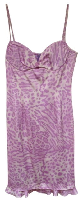 Escada Silk Strappy Animal Print Ruffle Lined Dress