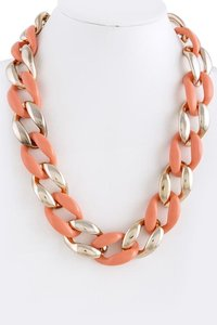 Peach and Gold Chunky Curb Chain Necklace