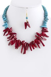 Turquoise and Red Stone Short Necklace Set