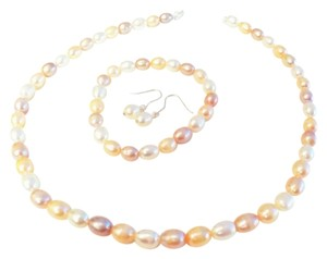 Pink, Peach and Cream Pearl Necklace, Bracelet and Earrings Sterling