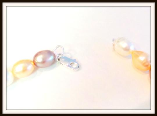 Other Pink, Peach and Cream Pearl Necklace, Bracelet and Earrings Sterling