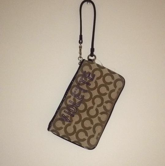 Coach Poppy Chan Op Art Violette Large Collectible Rhinestones Silver Fabric Wristlet in Purple