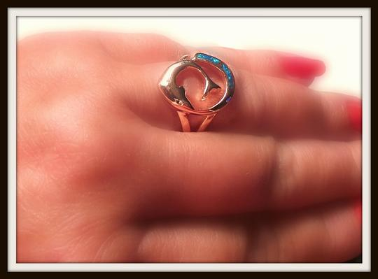 Other Fire Opal Dolphin 925 Sterling Silver Rose Gold Ring 7.5