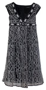 Nanette Lepore short dress Black | White Sleeveless V-neck Embroidered on Tradesy