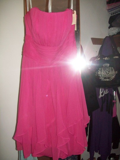 David's Bridal Pink Chiffon F14169 Formal Bridesmaid/Mob Dress Size 4 (S)