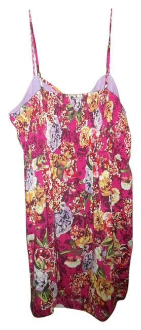 Xhilaration short dress Pink, Yellow, Lilac Floral Short Sundress Purple Flowers on Tradesy