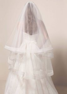 Vera Wang Ivory Medium White By - Two Tier Mid Length with Horsehair Trim Bridal Veil