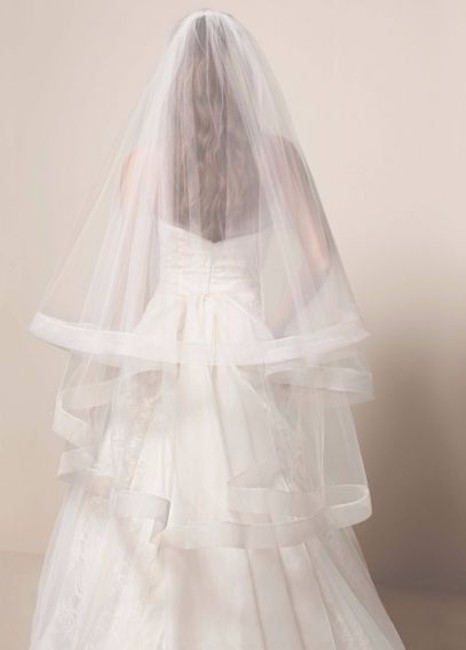 Item - Ivory Medium White By - Two Tier Mid Length with Horsehair Trim Bridal Veil