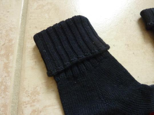 Gucci GUCCI Knit Gloves New $175 in Navy Blue Wool Striped Ribbed - Large