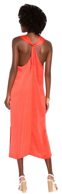 Coral Maxi Dress by JustFab Flowy Maxi Summer Silk Beach Silky Beachy Bright Bold