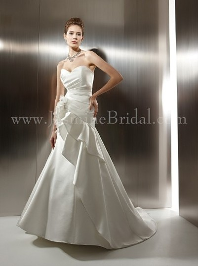 Jasmine Couture Bridal White Satin T486 Formal Wedding Dress Size 4 (S)