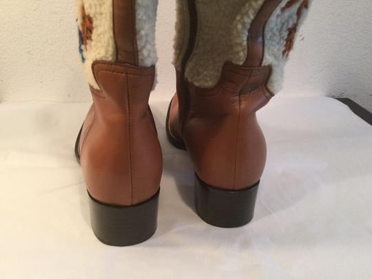 Miu Miu Sown Embroidered Made Brown and white leather and sheepskin Italian E36.5 Boots
