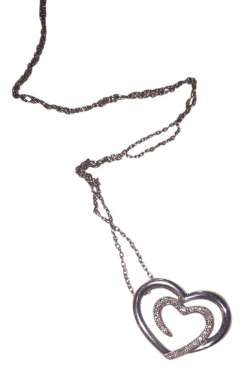 Zales Double Heart Sterling Silver Pendant Necklace