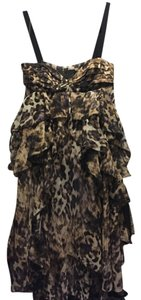 H&M Animal Print Chiffon Ruffle Cocktail Date Dress