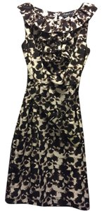Banana Republic Sleeveless Animal Print Ruffle Belt Tiered Cascade Ruffles Work Career Holiday Dress