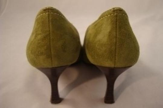Franco Sarto Feminine Flirty Suede Laced Bow Olive Green Pumps