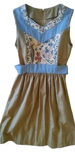 Other short dress Khaki Floral Vintage Fit And Flare Homemade on Tradesy