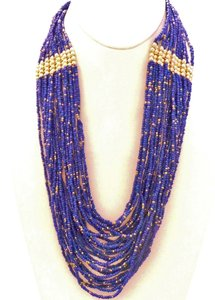 Multi Strand Glass Czech Seed Beaded Blue Necklace