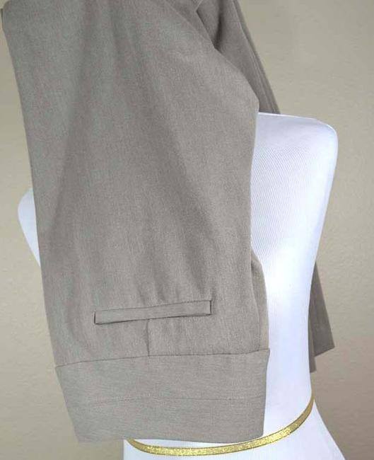 Express Size 6 Editor Stacked Wide Waist Band Studio Stretch Dress Trouser Pants taupe