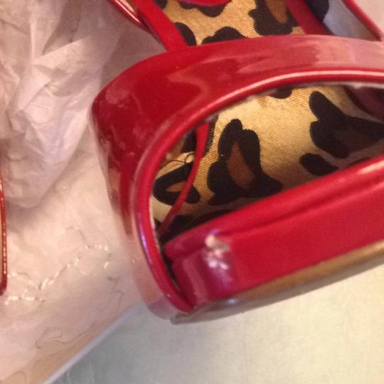Jessica Simpson Animal Print Red Leather Josette Really Red Pumps