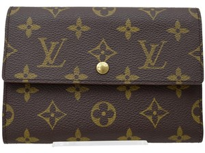 Louis Vuitton (Excellent Condition) Authentic Louis Vuitton Long Tri Fold Wallet Purse Made In France Browns Monogram Coin Case
