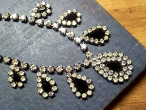 Crystal Art Deco Style Rhinestone & Black Teardrop Wedding Necklace
